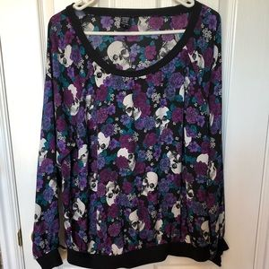 Torrid long sleeve floral in skull blouse